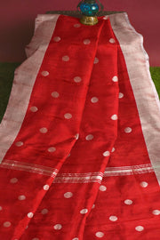 Uppada pure silk saree in red  with silver motifs, borders & blouse