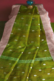 Uppada pure silk saree in two tone green  with silver motifs, borders & blouse