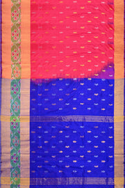 Uppada pure silk saree in two tone pink with buttas  on the body and a skirt border in Ikat pattern
