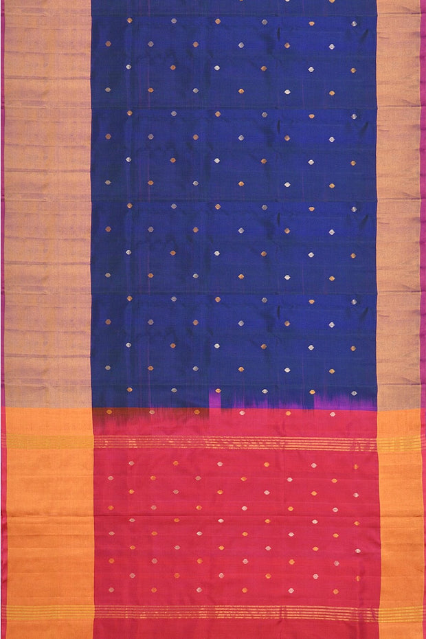 Uppada pure silk saree in peacock blue with buttas and 9 inch border & a contrast pallu