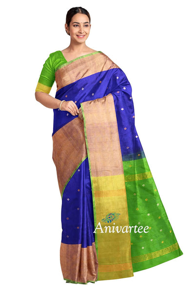 Uppada pure silk saree in blue with buttas and 9 inch border & a contrast pallu