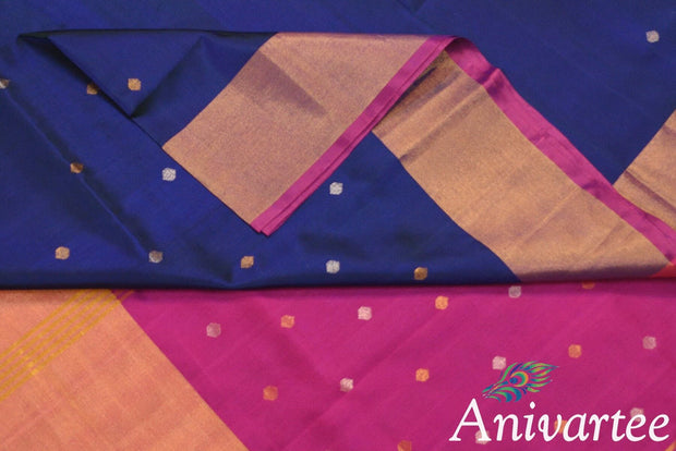 Uppada pure silk saree in navy blue with buttas and 9 inch border & a contrast pallu