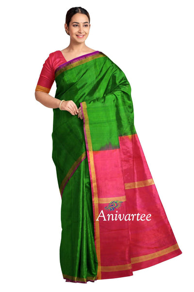 Handwoven uppada pure silk saree in green & pink with one inch border
