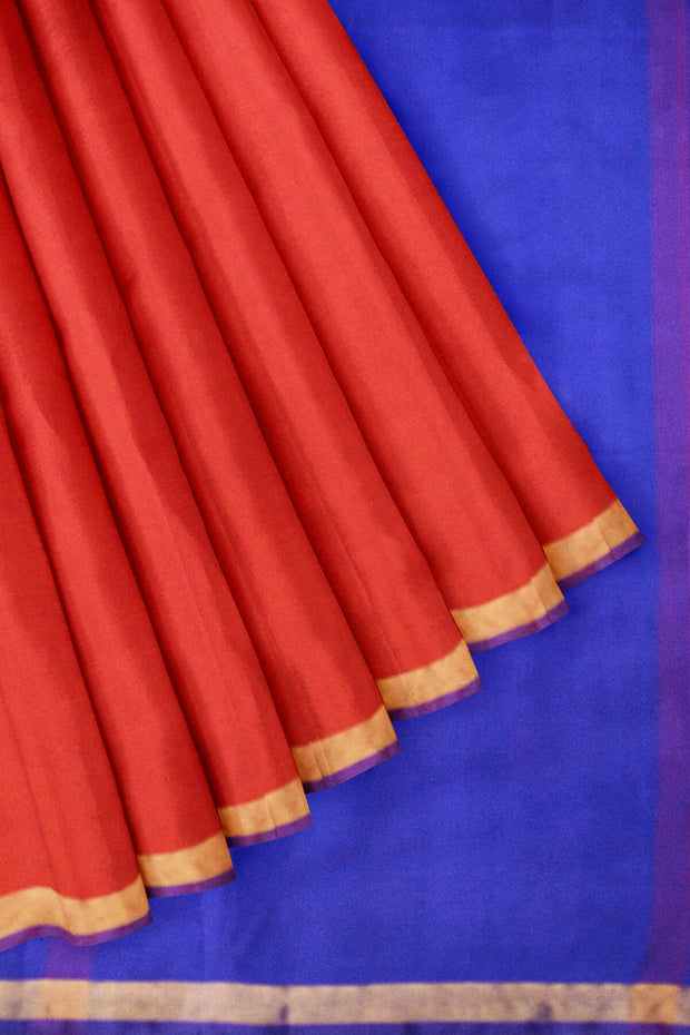 Handwoven uppada pure silk saree in red & blue with one inch border