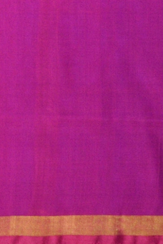 Handwoven uppada pure silk saree in blue & pink with one inch border