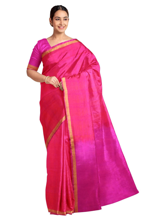 Handwoven uppada pure silk saree in  orangish pink with one inch border