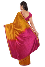 Handwoven uppada pure silk saree in mustard & pink with one inch border