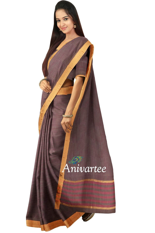 Handloom Uppada pure cotton saree in snuff colour - Anivartee