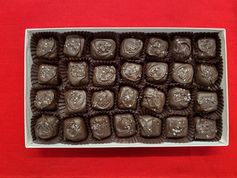 Dark Chocolate Covered Caramels with Sea Salt - 1 Pound