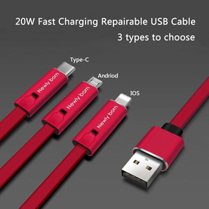 4A Fast Charger Cable Repairable USB Data Sync Charging Cord Repair Recycling Renewable Charging Free Shipping
