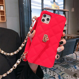Fashion Phone Case with Long Strap Chain for IPhone 11 Pro XS MAX XR 6S 7 8 Plus TPU Soft Case Card Wallet Handbag Back Cover