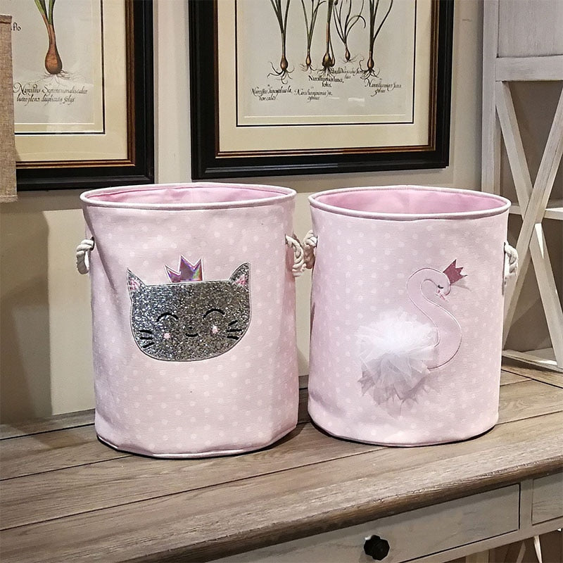 35*40 Pink Swan Cat dinosaur Dirty Laundry Basket