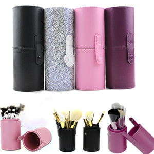 PU Leather Travel Makeup Brushes Pen Holder Storage