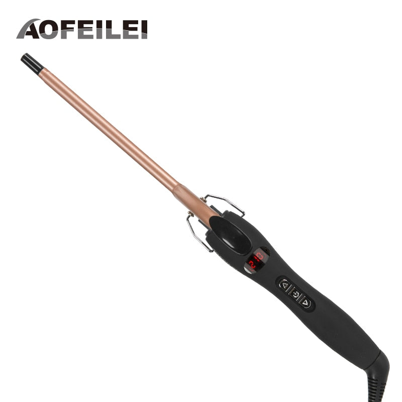 Aofeilei professional 9mm curling iron Hair waver Pear Flower Cone Ceramic curling wand roller beauty Salon Hair Curlers