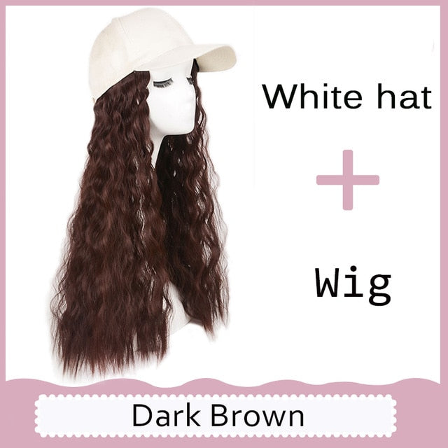Long Synthetic Embroidered Baseball Cap Hair Wig