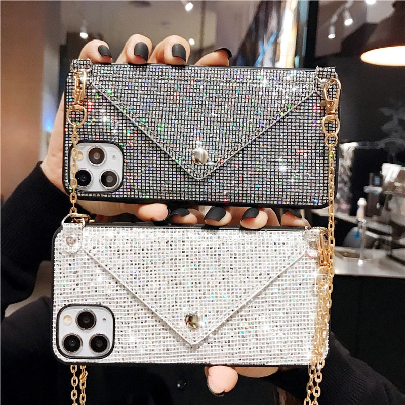 Glitter Luxury Diamond Wallet Card Phone Case For iPhone 11 Pro Max XR XS Max X 6 6S 7 8 Plus Shining Crossbody Cover With Chain
