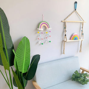 Ins Style Children's Room Decoration Pendant Rainbow Hanging Ribbon-5 Tassels With Hair Balls