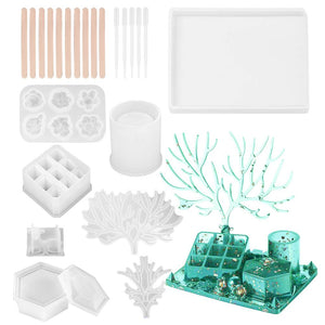 Diy Jewelry Makeup Storage Silicone Mold Set + 10 Sticks + 5 Droppers