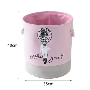 Ballet Shoes Bowknot Girl Canvas Storage Bucket Laundry Basket