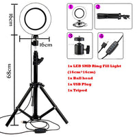 LED Dimmable Selfie Studio Light With Tripod & Phone Holder