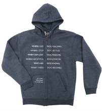 Load image into Gallery viewer, ZIP HOODIE: DOG CO-DEPENDENT (BLUE)