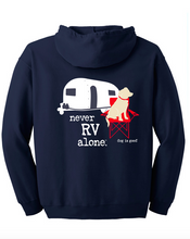 Load image into Gallery viewer, ZIP HOODIE: NEVER RV ALONE (UNISEX, NAVY)