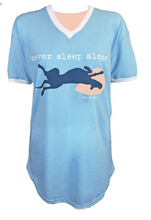 Load image into Gallery viewer, SLEEP SHIRT: NEVER SLEEP ALONE (LIGHT BLUE)