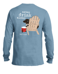 NEVER DRINK ALONE (NEW) NAVY UNISEX LONG SLEEVE