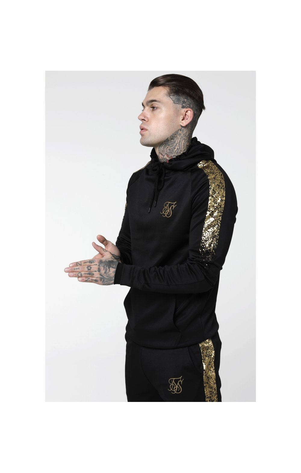 Load image into Gallery viewer, SikSilk Foil Fade Overhead Hoodie - Black & Gold