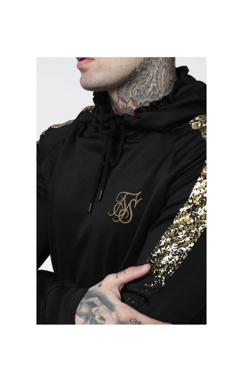 Load image into Gallery viewer, SikSilk Foil Fade Overhead Hoodie - Black & Gold (2)