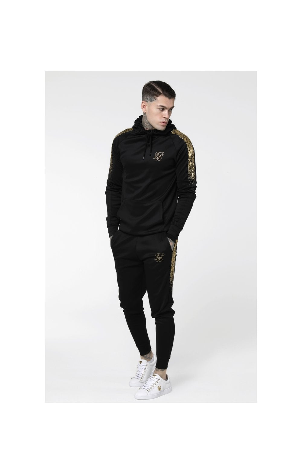 Load image into Gallery viewer, SikSilk Foil Fade Overhead Hoodie - Black & Gold (3)