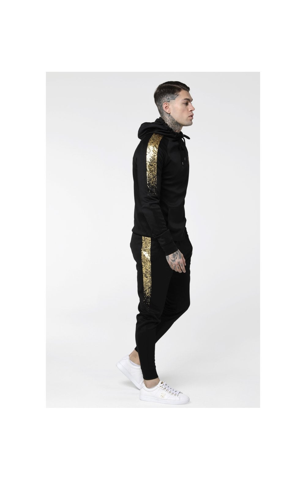 Load image into Gallery viewer, SikSilk Foil Fade Overhead Hoodie - Black & Gold (1)