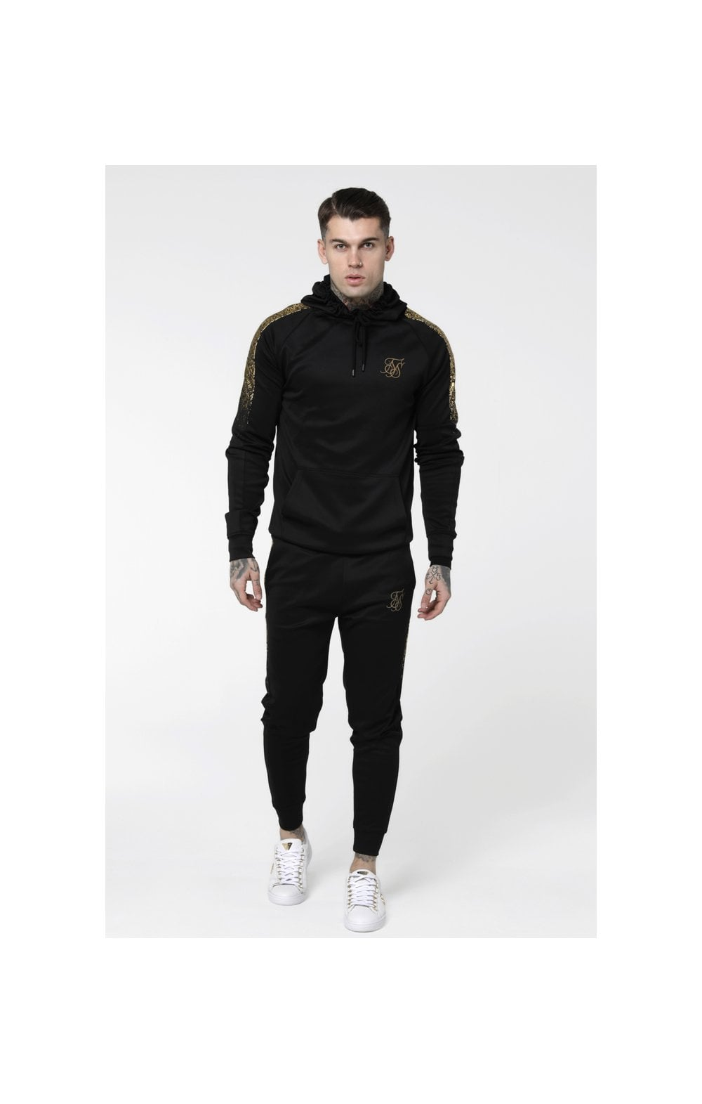 Load image into Gallery viewer, SikSilk Foil Fade Overhead Hoodie - Black & Gold (4)