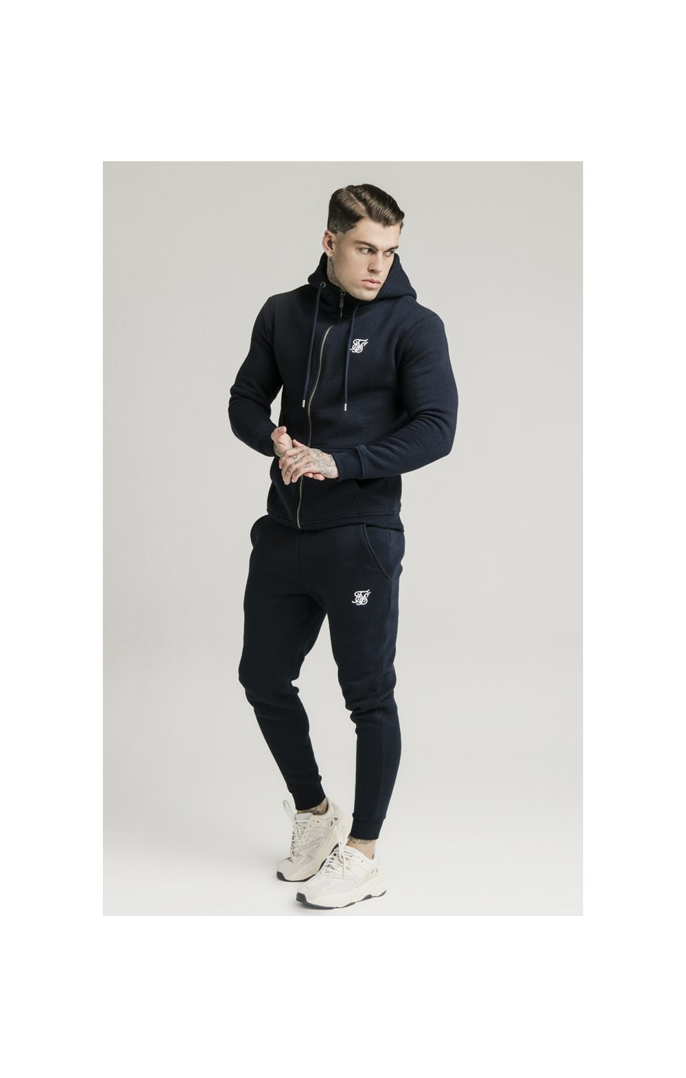 Load image into Gallery viewer, SikSilk Zip Through Funnel Neck Hoodie - Navy (3)