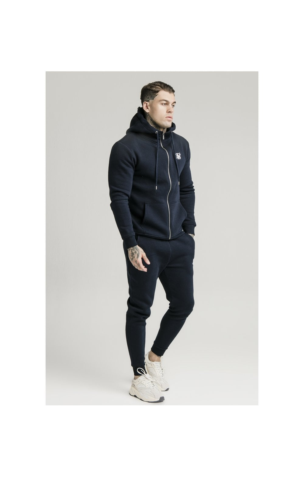 Load image into Gallery viewer, SikSilk Zip Through Funnel Neck Hoodie - Navy (4)