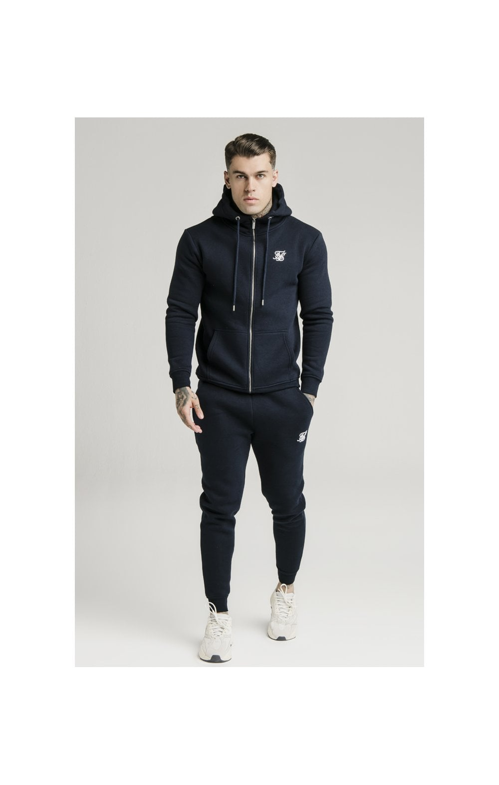 Load image into Gallery viewer, SikSilk Zip Through Funnel Neck Hoodie - Navy (5)