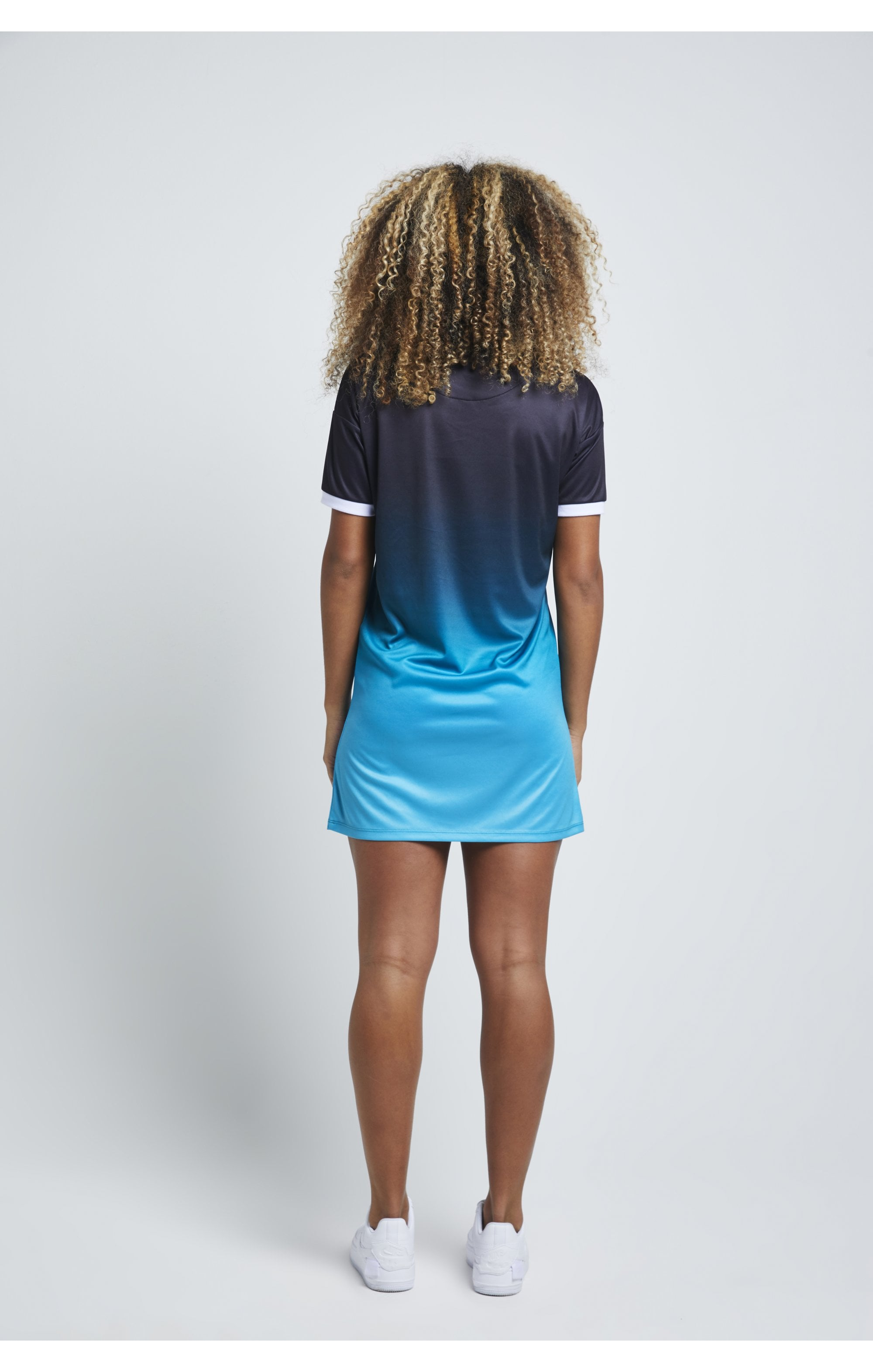 SikSilk Fade T-Shirt Dress - Black & Teal (5)