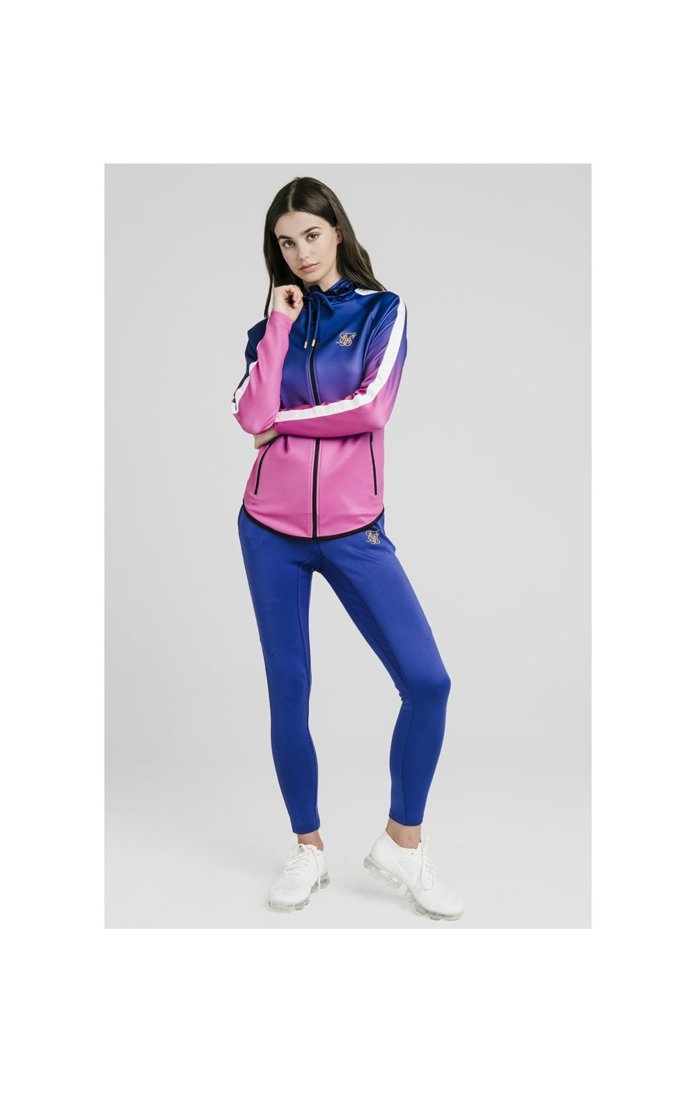 Load image into Gallery viewer, SikSilk Athlete Fade Zip Through Hoodie – Blue & Rose (2)