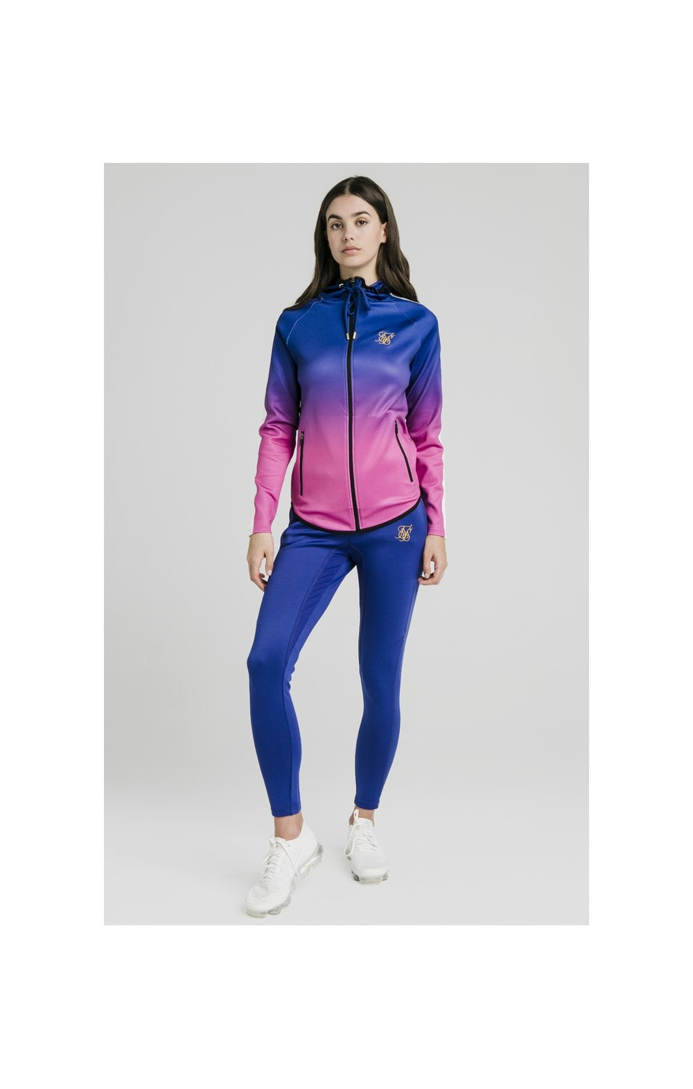 Load image into Gallery viewer, SikSilk Athlete Fade Zip Through Hoodie – Blue & Rose (5)