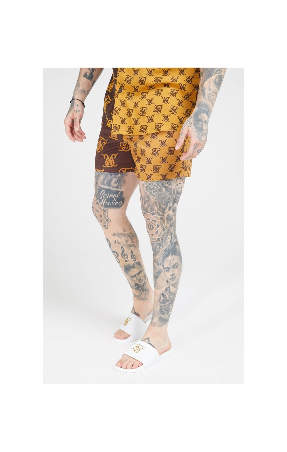Load image into Gallery viewer, SikSilk Standard Swim Shorts – Tan & Brown (1)