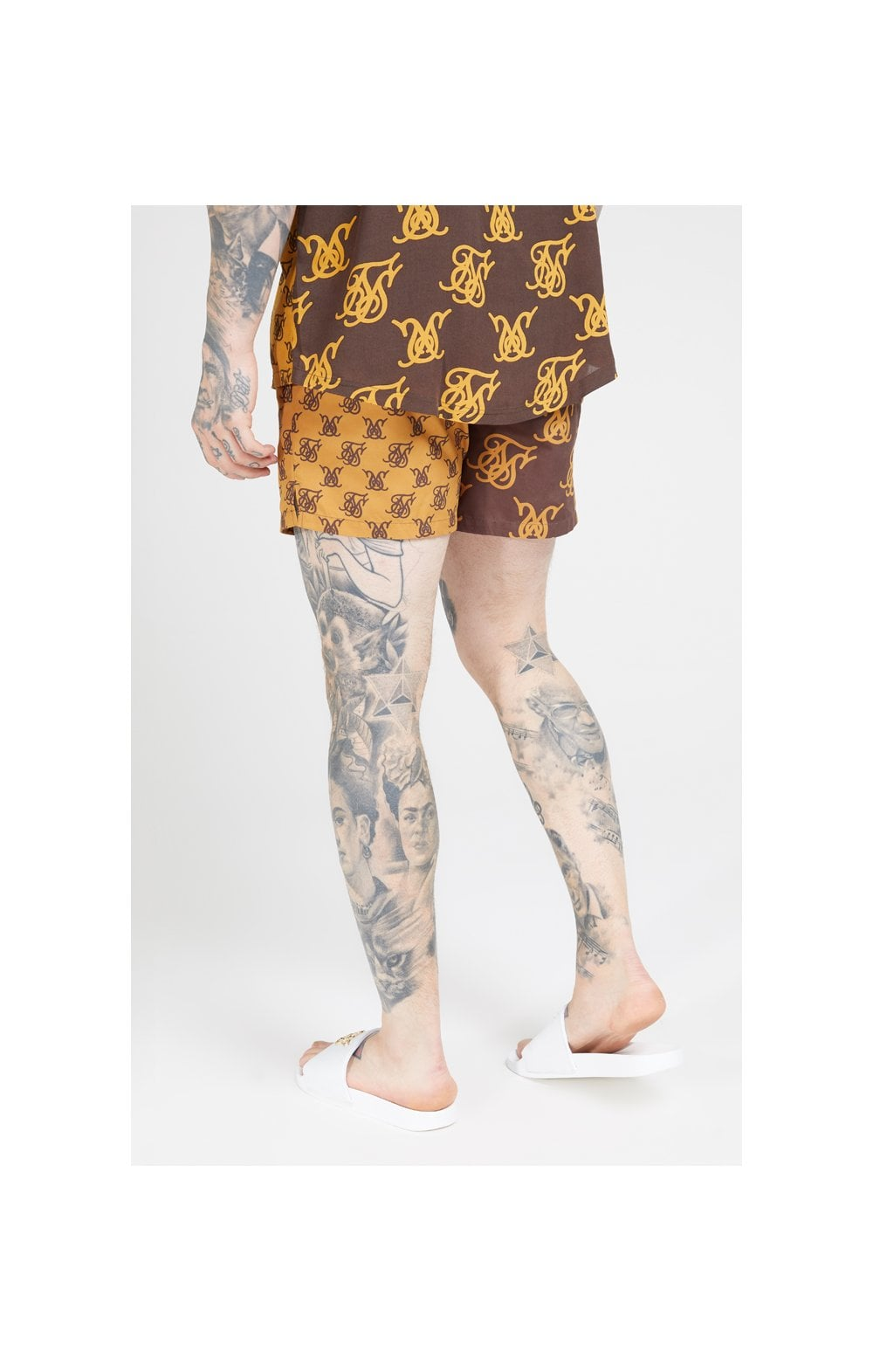 Load image into Gallery viewer, SikSilk Standard Swim Shorts – Tan & Brown (5)