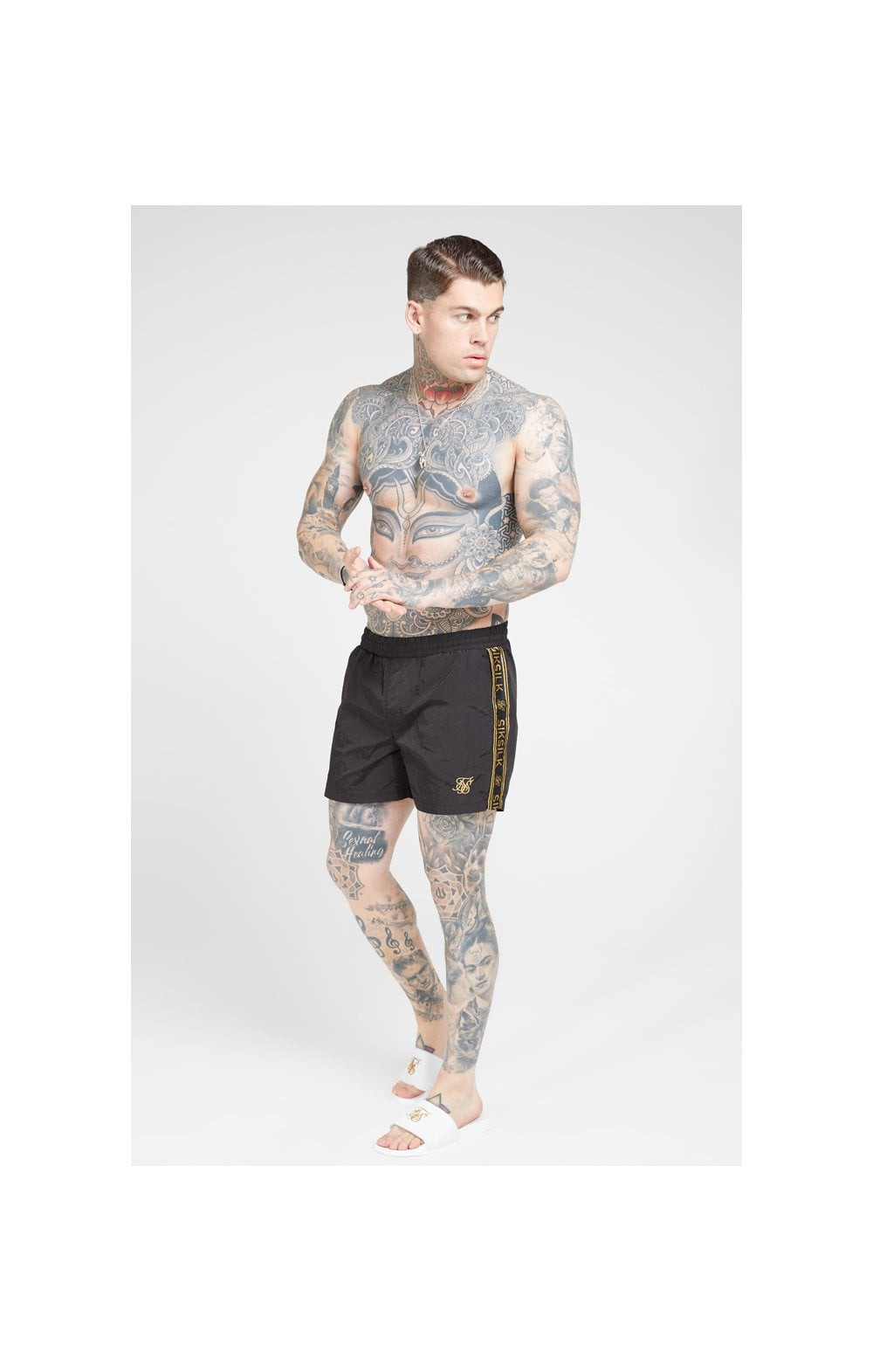 SikSilk Crushed Nylon Tape Shorts – Black & Gold (2)