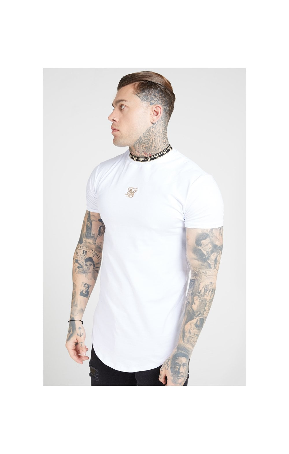 SikSilk Tape Collar Gym Tee - White & Gold (1)