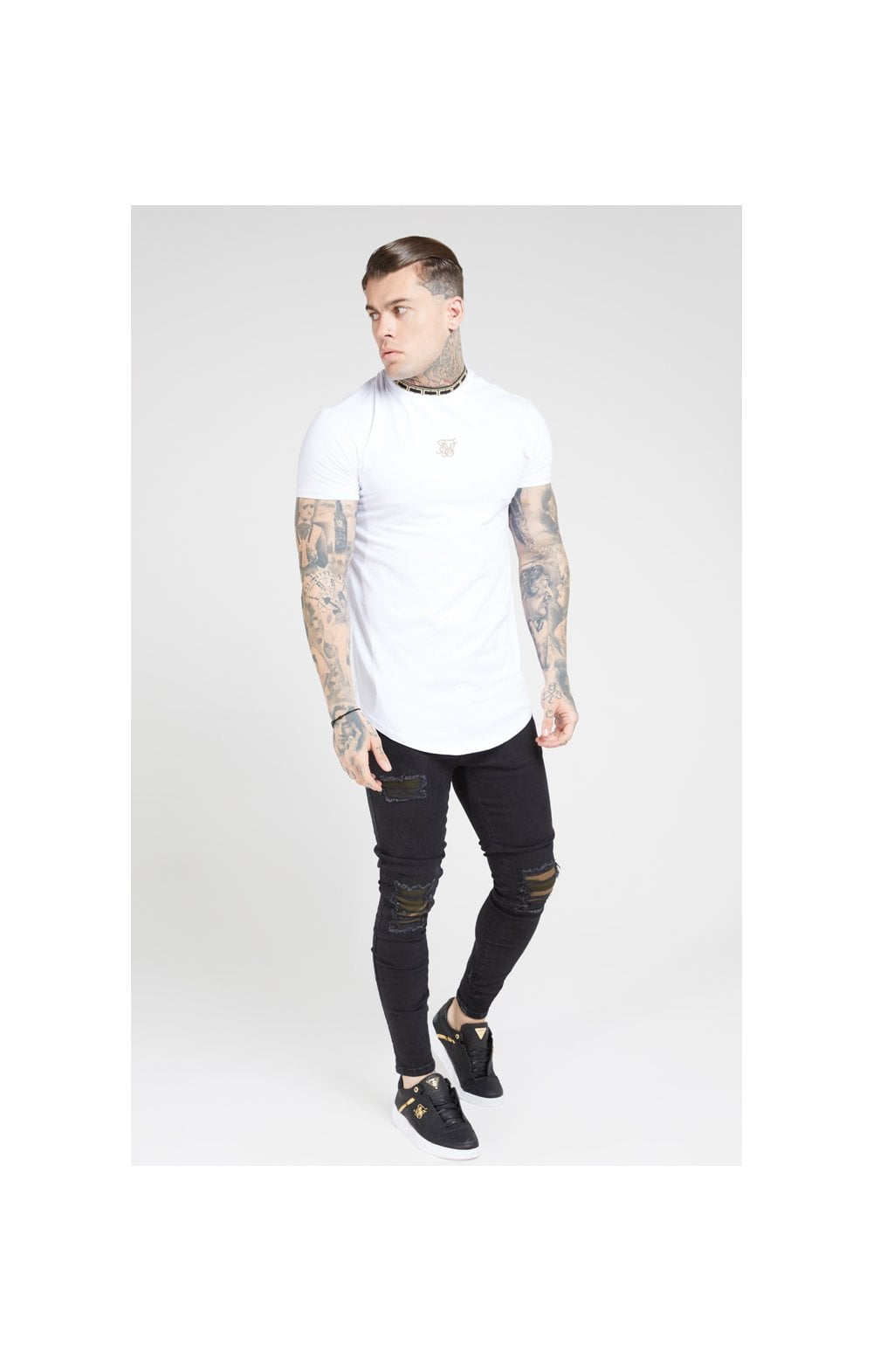 SikSilk Tape Collar Gym Tee - White & Gold (2)