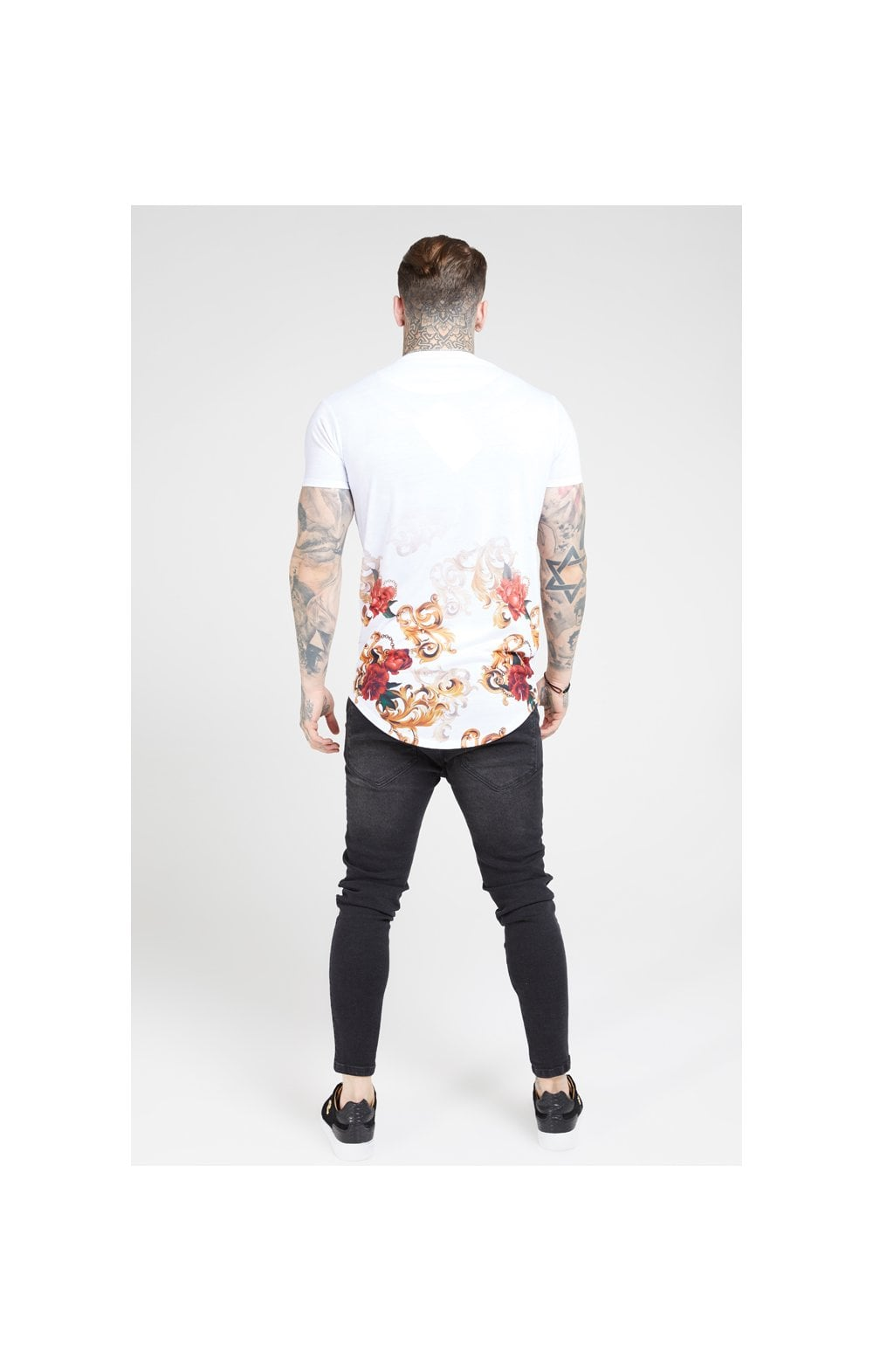 SikSilk S/S Curved Hem Tee – White & Floral Elegance (4)