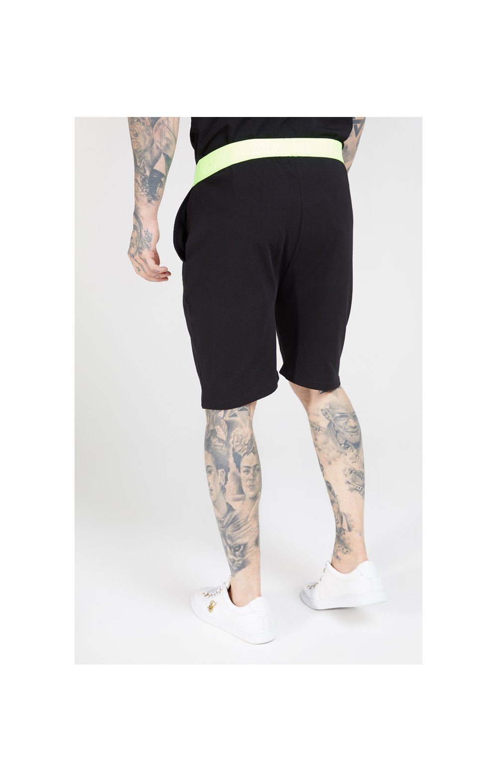 SikSilk Relaxed Fit Shorts – Black & Neon Yellow (2)