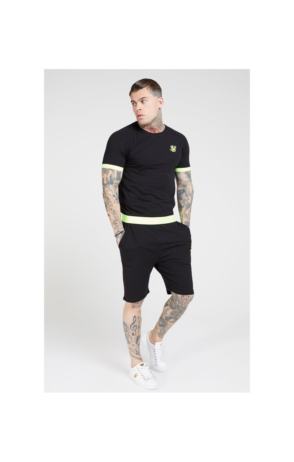 SikSilk Relaxed Fit Shorts – Black & Neon Yellow (4)