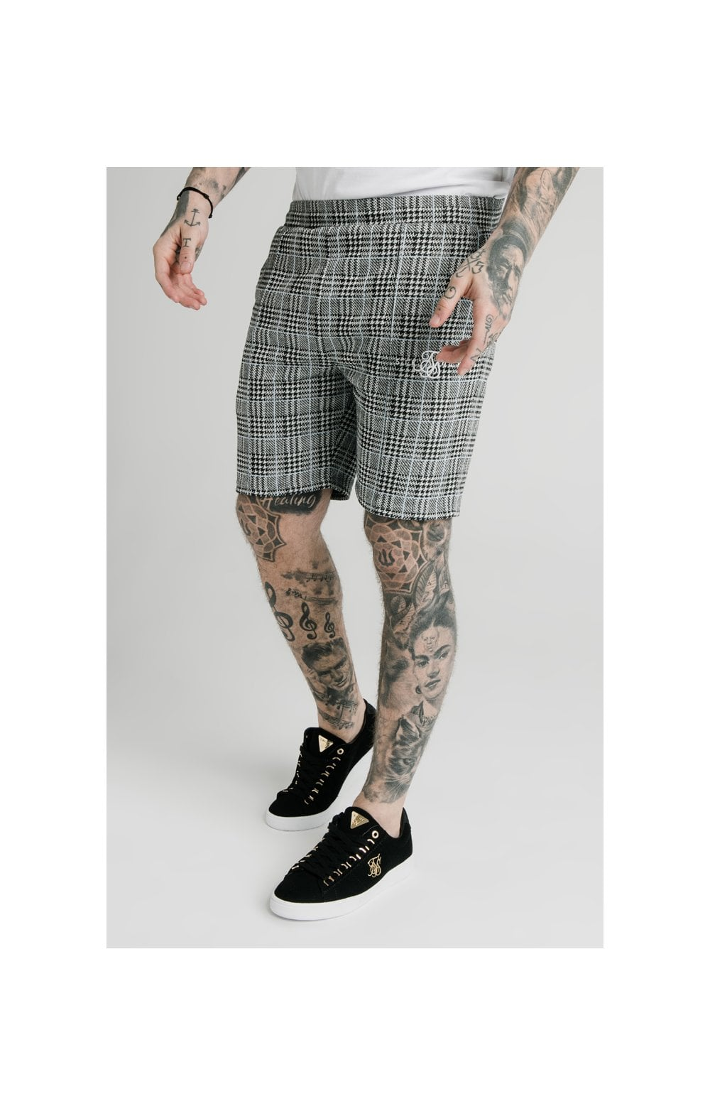 Load image into Gallery viewer, SikSilk Pleated Smart Shorts – Grey Dogtooth (1)