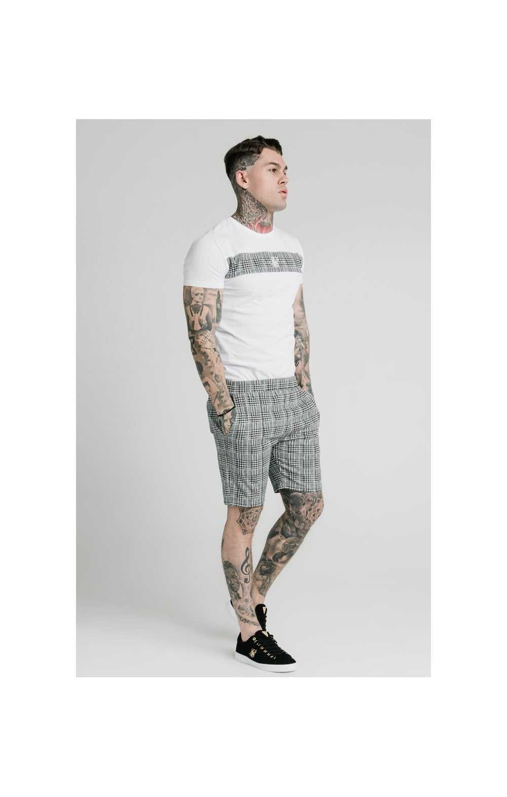 Load image into Gallery viewer, SikSilk Pleated Smart Shorts – Grey Dogtooth (5)