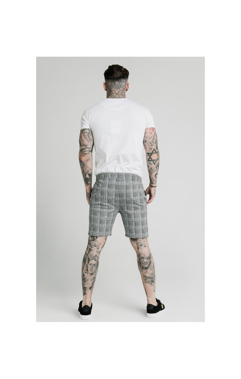 SikSilk Pleated Smart Shorts – Grey Dogtooth (6)